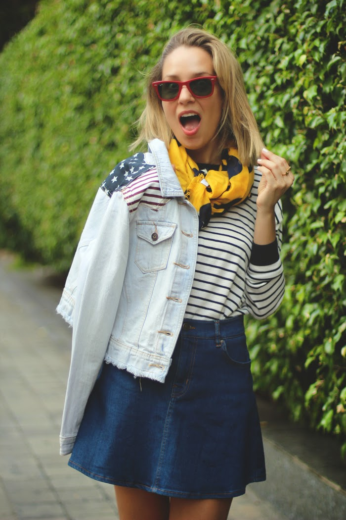 american flag, denim skirt, eBay, fashion blogger, MY SHOWROOM, sailor stripes, skater skirt, superga, sweet look, teenvogue,