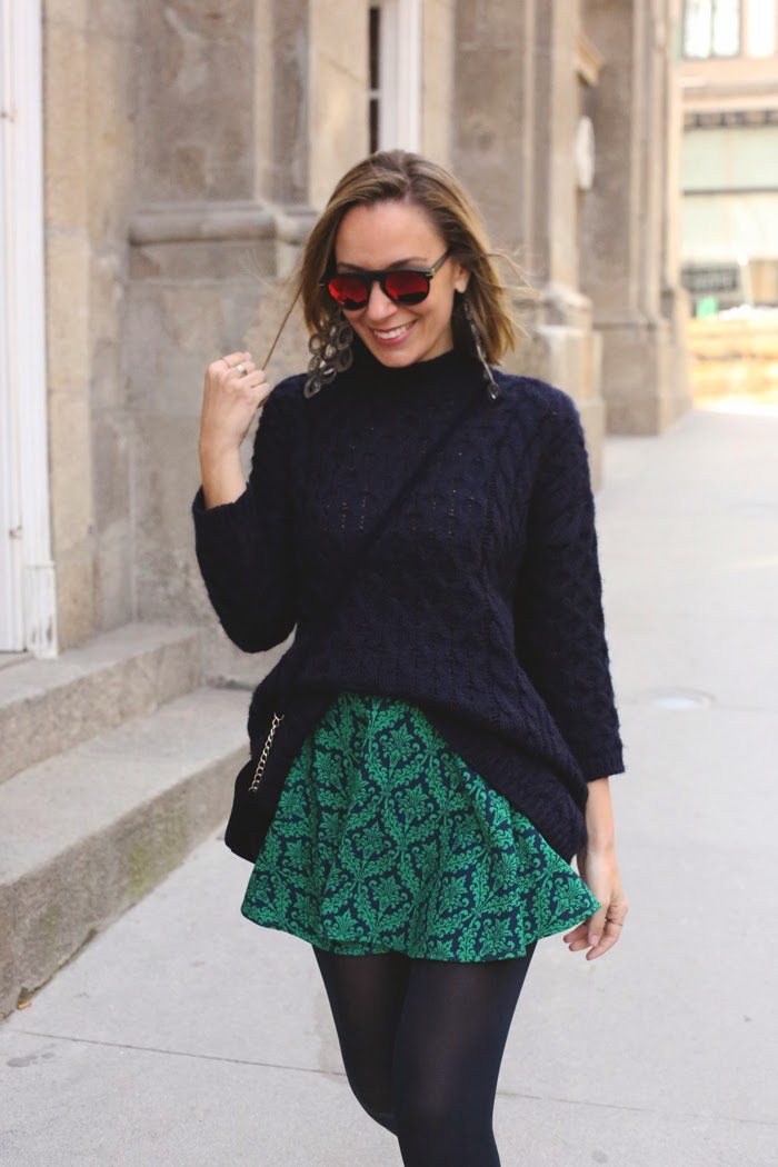 Blue jumper, skater skirt, blue and green, mirror sunglasses, fashion blogger