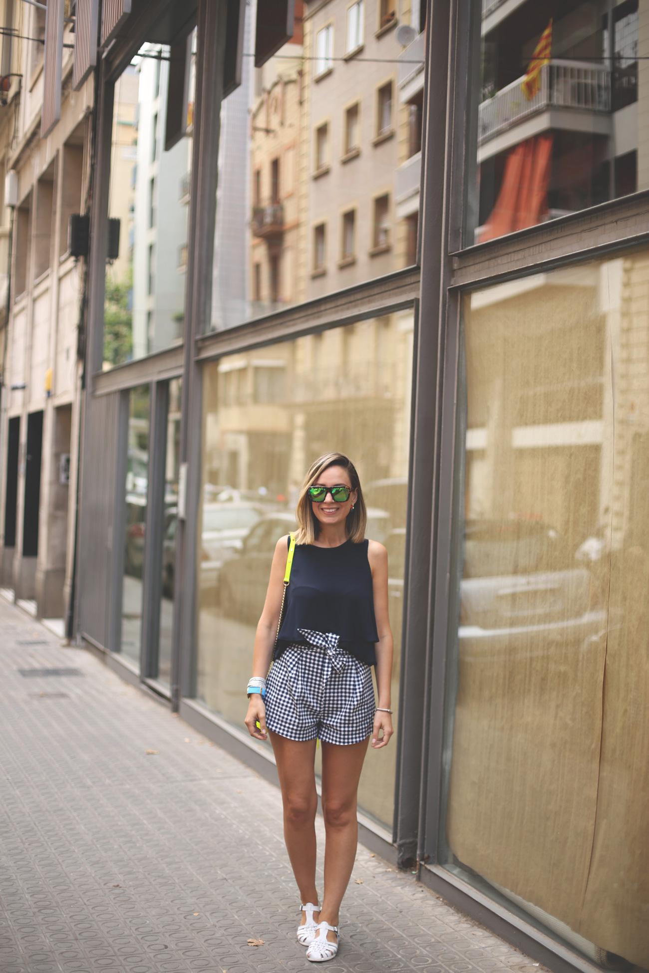 Shorts, spring look, summer outfit, gingham, fluor, rebecca Minkoff, earrings, watch, sandals