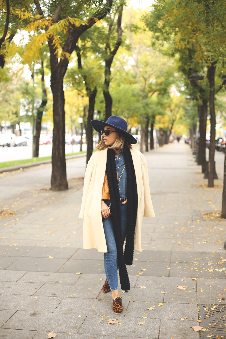 Fashion blogger, blog de moda, look con abrigo vintage, zapatos de Zara, total look denim, sombrero azul, shooting en Madrid,