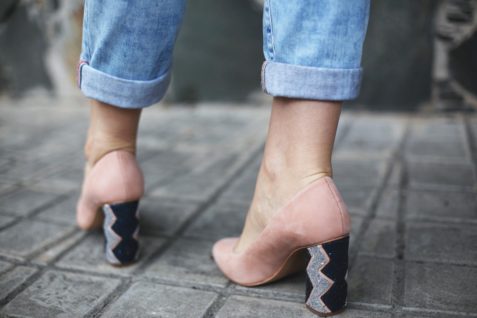 zapatos nude con glitter