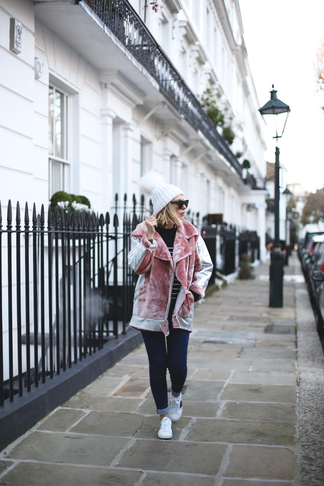Abrigo rosa de pelos de topshop