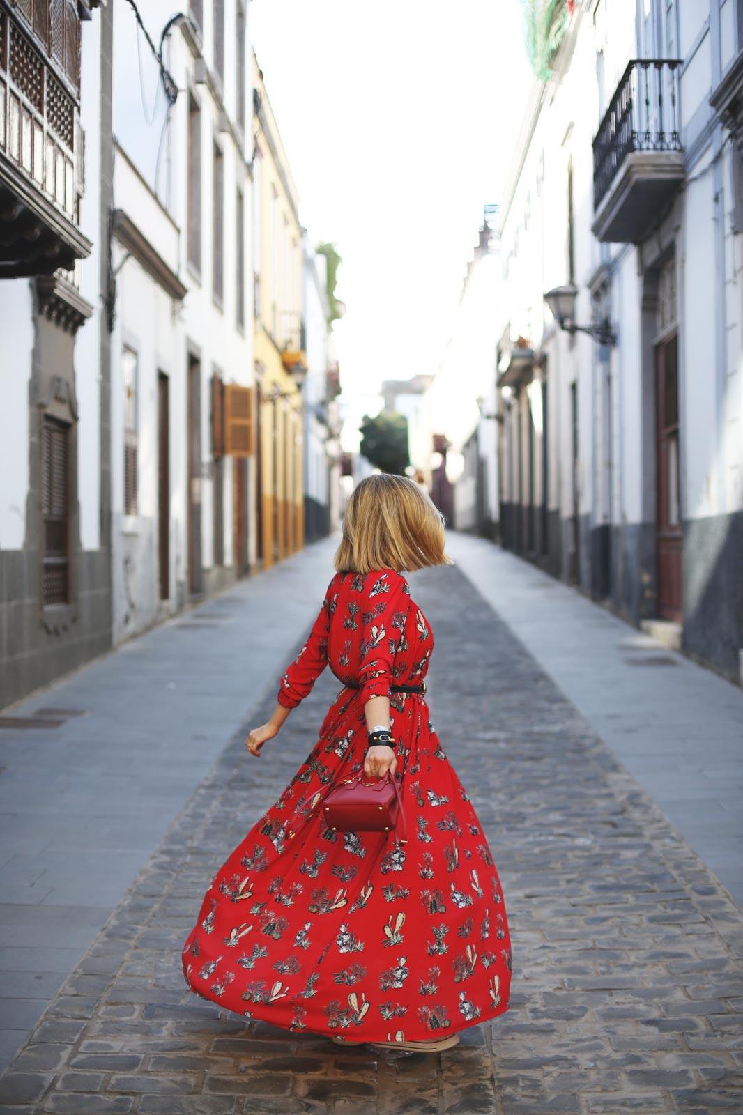 Vestido rojo moda maxi en rojo
