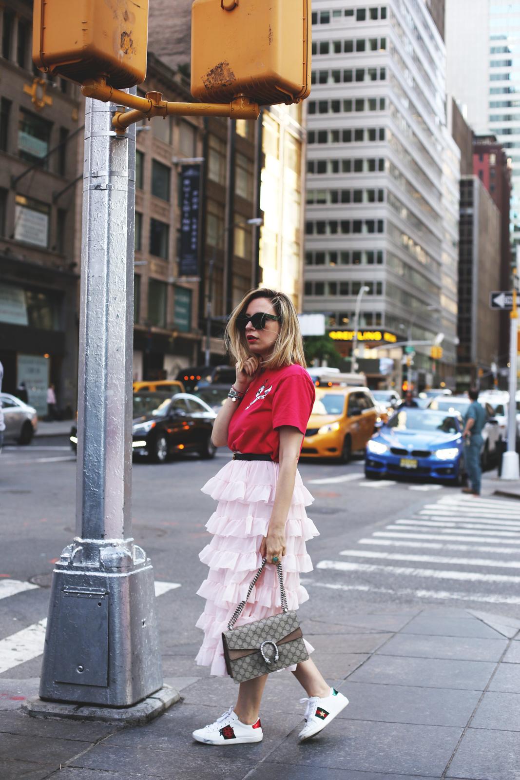 outfit falda volantes en mi viaje a new york