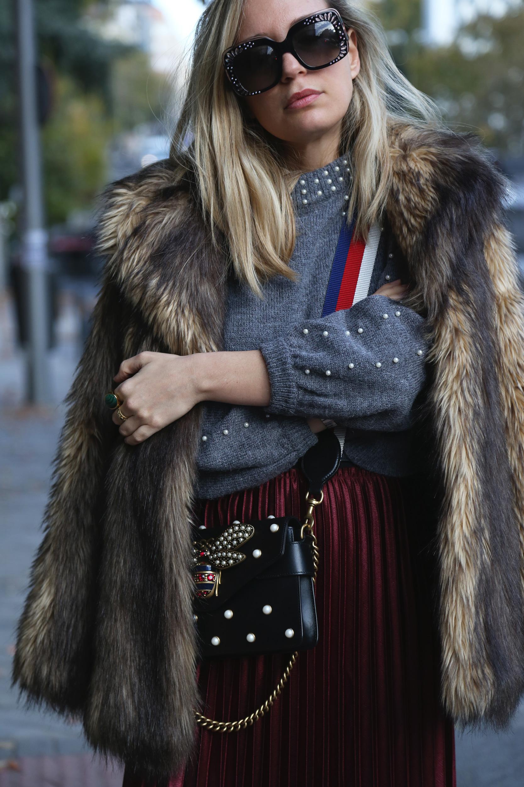 abrigo de pelo invierno outfit